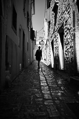 Art caffè (iamunclefester) Tags: vacation holiday croatia krk otokkrk blackandwhite monochrome street silhouette polished shiny café cafe artcaffè art caffè alley old windows sunny bright alleyway narrow narrowstreet shadows shadow cobblestone tiles sky reflection