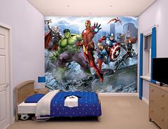 Avengers Assemble Bedroom Scene - 43848 (decocentrum) Tags: 12 part mural részes poszter walltastic 3d popout collection spiderman disney fireman sam heroes interior children design wall gyerek faldekoráció