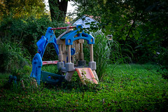 Nobody Plays Here Anymore (John Brighenti) Tags: photography photos outdoors evening twinbrook rockville maryland md commute sony alpha a7ii a7 ilce7m2 ilce sel70300g 70300mm glens green trees leaves plants grass blue kids children play playset plastic disuse abandoned decay overgrown old junk