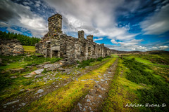 Cottage Ruin Snowdonia (Adrian Evans Photography) Tags: autumn capelcurig snowdonia decay welshcottage cottages trees rhosquarry uk northwales quarry architecture footpath stone landscape snowdonianationalpark landmark mountains buildings outdoor terracedcottages slate clouds slatequarry welshruin abandoned barracks ruins rhos adrianevans house dilapidated ky welsh worn wales sky