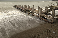 back and forth (seth2252013) Tags: coast coastline wales aberystwyth pier jetty sea tide weather waves beach