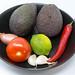 Guacamole Mix Zutaten - Avocado, Tomate, Zwiebel, Knoblauch, Limette und Chilischote