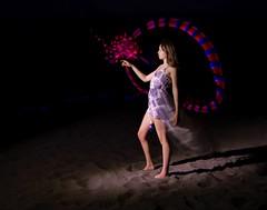 Week 42  Shutter Drag (Sally Harmon Photography) Tags: light painting shutter drag sand dunes colorado girl circle lights