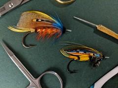 Brittania and Jock Scott (afeicht1) Tags: brittania jock scott atlantic salmon fly hand tied traditional classic blind eye hook