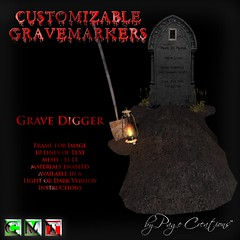 ღ ♡  Gravemarkers - Grave Digger Dk by Page Creations™ ♡ ღ (Raven Page) Tags: halloween props decor mesh spooky scary fog pumpkins gothic goth