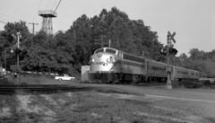 Westbound At Forest Glen (DJ Witty) Tags: emd dieselelectric passenger locomotive railroad photography marc f9ph kennsington maryland usa passengertrain agfapan bw blackwhite blackandwhite pentaxk1000
