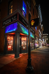 PIZZA  |  BOOZE (tim.perdue) Tags: pizza booze mikeys late night slice pizzeria bar restaurant storefront shop window neon sign multicolored colorful dark sidewalk building corner dont walk hand light crosswalk downtown urban city nikon d5600 nikkor 1020mm fresh hot short north high street wide angle architecture food liquor