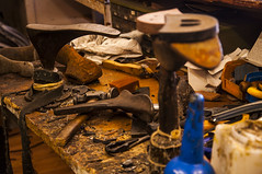 Well used Shoe Repairers workbench (daveknight1946) Tags: shoerepairer workbench hammer last soles heels tools glue