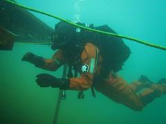 Rubber frogman diving in fullface mask (CZDiver) Tags: scubagear scubadiving scubadiver scuba scubatank divinggear doublehosescubaregulator aqualungmistral underwater diver rubberdrysuit drysuitdiving northerndiverdrysuit