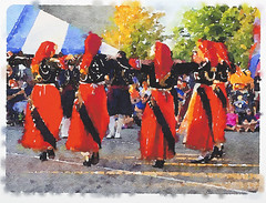 Watercolor of Greek women folk dancers performing in traditional costumes of Anogeia, Crete at a local festival. (thstrand) Tags: