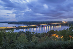 I94 Bridge over the St. Croix (Sam Wagner Photography) Tags: blue twilight late summer early fall long exposure st croix river blur traffic hudson wisconsin lakeland minnesota reflections hour cloudy sky dramatic light wide angle landscape infrastructure bridge water smooth
