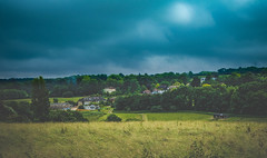 Before the rain ... (Julie Greg) Tags: landscape nature nautre england view colours trees tree grass sky road field hill forest fujifilm