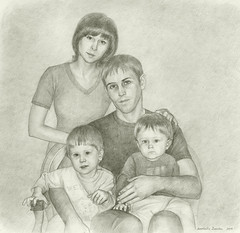 Family portrait (Annabelle Danchee) Tags: paper graphite pencil face people creative art beautiful danchee annabelle portrait graphic graphics drawing draw dancheeannabelle woman man