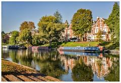 River Cam PA100010 (Davey's Shots) Tags: rivercam cambridge autumncolours reflections narrowboats houseboats moorings chestertonroad trees grass riverbank steps m10