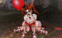 The Madness in Me (**Thaya Sapphire**) Tags: evil clown hell halloween costume fancy movie women men sl secondlife second life skin hairs outfit clothes eyes shoes dead irrisistible maitreya belleza slink hourglass tonic aesthetic signature omega appliers mesh sexy autumn horror creepy balloon make up gothic pennywise