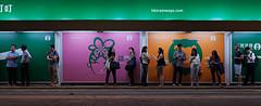 """""""叮叮 …… hk tramways"""" (hugo poon - one day in my life) Tags: gfx50r 45mm hongkong central desvoeuxroad tram citynight colours people waiting dayisdone sign"""