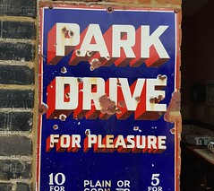 Park Drive sign (DorsetBelle) Tags: parkdrive cigarettes cigarettesign parkdrivesign railwaysigns advertisingsigns advertising eppingongarrailway signs vitreousenamelsigns enamelsigns