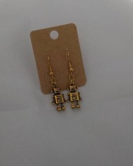 Robot Dangle Earrings, 18k gold plated, nickel free, nickle free, geeky, nerdy, gold by SilverSkyByJanet (janetdmorris) Tags: etsy crafts shopping robot dangle earrings 18k gold plated nickel free nickle geeky nerdy by silverskybyjanet