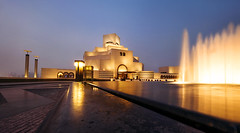Night scene of the Museum of Islamic Art, Doha, Qatar (CreativePhotoTeam.com) Tags: gulf popular famous reflection light town city persiangulf persian islamicarchitecture design architecture aroundtheworld asia travelling qatar empire longexposure nightscene doha museum islamic art night water landmark arabia middle building corniche modern skyline arabian arabic sky architect mia east evening culture travel fountain capital muslim arab blue heritage construction sunset tourism