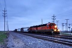 Shorter Days. Cloudy Evening. Local Switching. Mendota, IL (Laurence's Pictures) Tags: bnsf burlington route cbq mendota illinois freight train rail railroad railway locomotive engine transportation