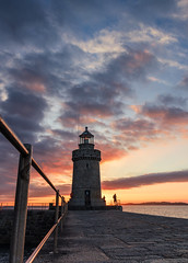 Fishermen at dawn (Ian Toms) Tags: landscape cloud cloudporn golden guernsey guernseyharbours guernseylife guernseystyle harbour lighthouse locateguernsey sea sealife seascape sky skyporn sunrise visitguernsey fishermen castle breakwater