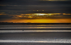 Sun hidden behind the clouds over Liverpool Bay (jimmedia) Tags: sunset sky wirral bay mersey dee river beach waves clouds point aye arye ayre talacre lighthouse