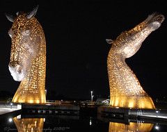 Golden Kelpies (Jason Prince Photography) Tags: sigma wide angle nikon d40 night sky falkirk kelpies scotland tourist attraction