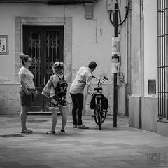 Meanwhile, the chap with the bike... Jerez (Paul Perton) Tags: bw fuji jerez spain xh1 blackandwhite candid city square street streetphotography urban