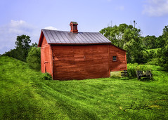 Red Barn (jsleighton) Tags: field farm grass tree cart barn red sky landscape