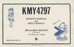 Ad-Graphics: Country Bumpkin & Uncle Donald - Athens, Pennsylvania (73sand88s by Cardboard America) Tags: qsl cbradio vintage cb qslcard adgraphics