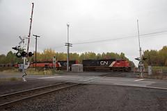 BLE903RamshawMN10-7-18 (railohio) Tags: cn ble ic trains ramshaw minnesota d750 100718 diamond sd40t2 canadiannational gradecrossing signals bessemerlakeerie