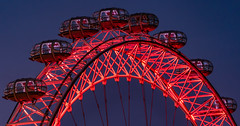 The Pods... (Aleem Yousaf) Tags: coca cola red blue hour morning ferris wheel londoneye long telephoto 200500mm iron structure leisure ride pods vantage point south bank river thames europe tallest tourist attraction architecture cantilevered observation deck view downtown nikon nikkor glass steel outdoor cool flickr colours london eye