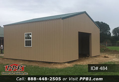 """One Car Garage - 24' W x 24' L x 10' 4"""" H (ID# 484) (pioneerpolebuildings) Tags: 24' w x l 10' 4"""" h id 484 car garage do you need small siding color tan roofing ivy green trim more details httppioneerpolebuildingscombuildingids401to500project24wx24lx104hid484approximatecost12454 door storage windows pioneer id484 ppb pioneerpolebuildings polebarn building metal sidning window 17972 monkton mdgarage 21111 ridge vent"""