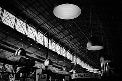 La piazza (iamunclefester) Tags: münchen munich asatouristinmyhometown manualfocus manualfocusday street blackandwhite monochrome market hall markethall lines perspective lamps lights schrannenhalle piazza windows contrast bright rayoflight ray pendant hanging lamp light suspended drop droplight suspendedlamp hanginglamp