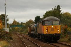 56090 On The Water Cannons (Derbyshire Harrier) Tags: 2018 autumn nottinghamshire mansfield railway october grid colas rhtt 56090 watercannons 56094 329x0500staplefordsandiacretototontmd robinhoodline windy