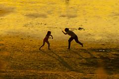 Lucha de gigantes / Titans fight (eduardo menéndez) Tags: gold golden summer verano sunset atardecer fight lucha playa beach juegos play games kids family familia explore