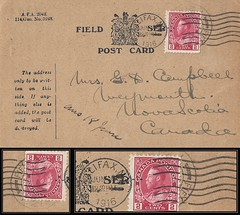Nova Scotia Postal History - 22 May 1916 / 8 June 1916 - Field Service Post Card sent by Lieutenant Colin Gernon Palmer Campbell to his mother who lived in Weymouth, Digby County, Nova Scotia (front of card) (Treasures from the Past) Tags: lieutenantcolingernonpalmercampbell colincampbell fieldservicepostcard halifax weymouth novascotia firstworldwar greatwar 1916 wwi