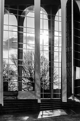 i've been waiting so long to be where i'm going (fallsroad) Tags: oru oralrobertsuniversity campus school architecture building columns arches windows reflection blackandwhite bw monochrome goldenhour