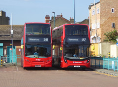 AB 2435 - SN61CVV - SLN 12387 - YX16OHC - PECKHAM BUS STATION - THUR 6TH SEPT 2018 (Bexleybus) Tags: adl dennis enviro 400 peckham bus station south east london mmc abellio stagecoach 12387 yx16ohc 2435 sn61cvv hybrid tfl route 177 381