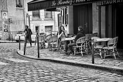Corner Cafe (Jan Kranendonk) Tags: paris france french cafe bar street corner girls women tables smoking cobblestones pavement montmartre