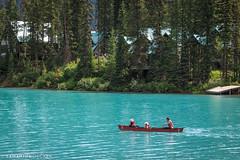 Canoeing on Emerald Lake (Samantha Decker) Tags: bc britishcolumbia canada canadianrockies canonef24105mmf4lisusm canoneos6d emeraldlake parkscanada rockymountains samanthadecker yohonationalpark canoe