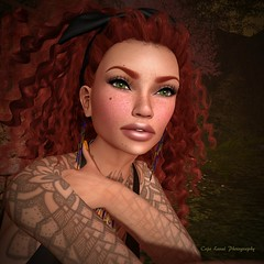 Portrait of a Curly Redhead (cejalaval) Tags: secondlife sl style slfashionblogger slphotography slfashion redhead greeneyes curly tattoo aviglam avatar analogdog laq 7deadlyskins letistattoo pose portrait stonesworks freckles