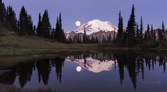 Moon Set at Tipsoo Lake. (Mt Rainier NP, WA) (Sveta Imnadze) Tags: mtrainiernationalpark wa chinookpass moonset tipsoolake
