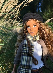 Curly girl. (dolldudemeow24) Tags: barbie fashionistas number 85 glam boho doll curls curly hair hat beanie scarf jacket boots jeans fall autumn fashion collection grass field forest park trees sunlight morning 2018