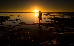 Tides lights (Eifeltopia) Tags: australia exmouth ningalooreef westernaustralia ocean sea sunset goldenhour lastlight ebb tide reef vacation coast tourist waterscape goldenlight sunlight nature iloveaustralia gezeitenlicht shorts photographersshoes selfportrait
