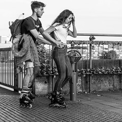 what is love? not locked! (every pixel counts) Tags: 2018 cologne rhine bridge people street couple city everypixelcounts blackandwhite square rollerblades lovelocks rhein nrw 11 europa bw germany eu day autumn blackwhite