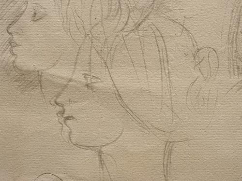 DEGAS Edgar,1858-67 - La Famille Bellelli, Visages et Bras, Etudes (Orsay) - Detail 24
