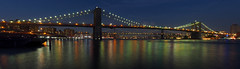 Brooklyn Bridge panorama (sonic182) Tags: panoramic view brooklyn bridge viewed from pier 17 manhattan new york city ny usa usa2018 night evening dusk blue hour long exposure reflection reflections east river