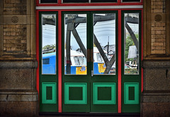 Reflecting On The Past (whosoever2) Tags: uk united kingdom gb great britain england nikon d7100 train railway railroad october 2018 preston lancashire al6 class86 e3137 86259 reflection door electric blue cumbrian mountain express 1z86