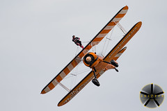Wave to the crowd (griffonphoto) Tags: 2018 aeroplane aircraft airplane airshow aviation boeing england greatbritain greatyarmouth norfolk outdoor outdoors outside plane propeller radial sky stearman uk unitedkingdom wing wingwalk gb